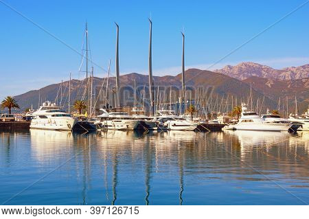 Tivat / Montenegro - November  23 2020:  View Of Marina Porto Montenegro With Sailing Yacht A, The L