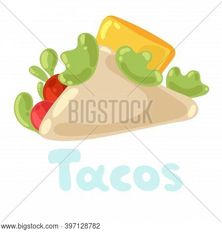 Taco Mexican Food Clipart Isolated On White. Vector Taco Illustration In Flat Style For Menu, Poster