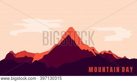 Mountain Landscape Design For Mountain Day. Good Template For Mountain Or Adventure Background Desig