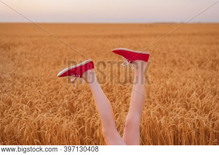 Legs Upwards On Wheat Field Background. Creative Approach To Solving Problems.