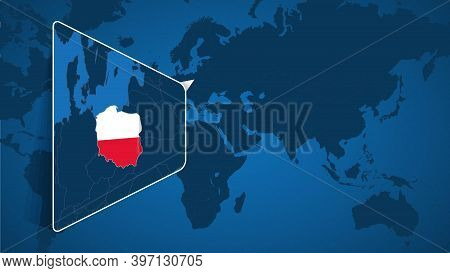 Location Of Poland On The World Map With Enlarged Map Of Poland With Flag. Geographical Vector Templ
