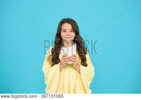 Feeling Comfy. Adorable Child On Turquoise Background. Hot Cocoa. Happy Morning. Comfy Outfit For We