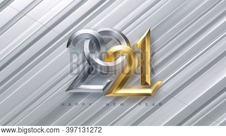 Happy New 2021 Year. Holiday Vector Illustration Of Golden And Silver Metallic Calligraphy Numbers 2