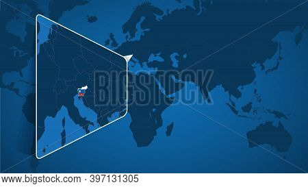 Location Of Slovenia On The World Map With Enlarged Map Of Slovenia With Flag. Geographical Vector T