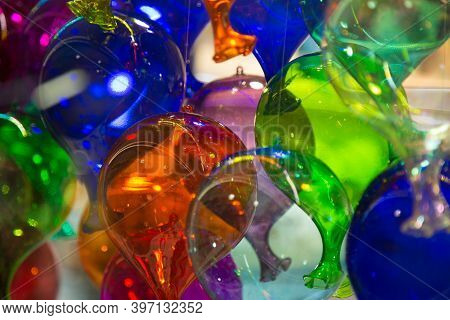 Many Colourful Murano Gras Balls. Traditional Venetian Party Decoration. Wall Paper And Background P