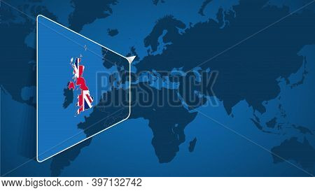 Location Of United Kingdom On The World Map With Enlarged Map Of United Kingdom With Flag. Geographi