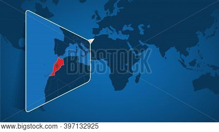 Location Of Morocco On The World Map With Enlarged Map Of Morocco With Flag. Geographical Vector Tem