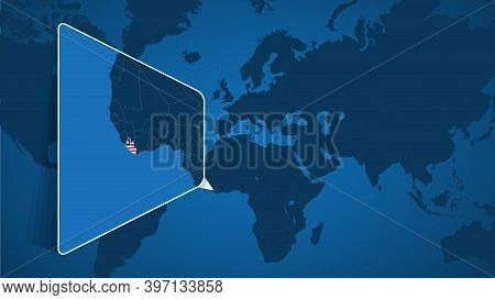 Location Of Liberia On The World Map With Enlarged Map Of Liberia With Flag. Geographical Vector Tem