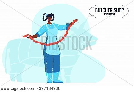 Butcher African Woman. Female Profession. Feminism. Fresh Meat And Meat Products Meat Market Worker.