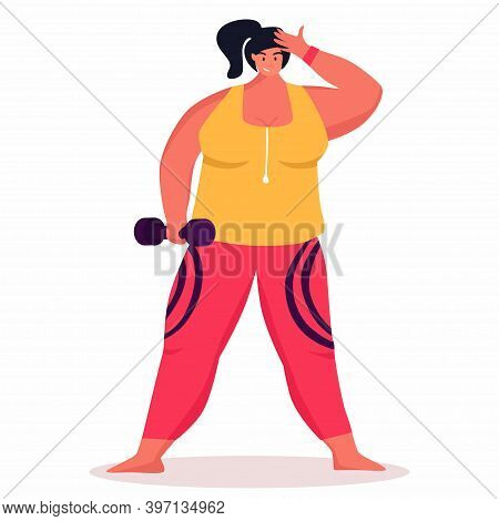 A Young Obese Woman Doing Exercise. A Girl Working In Sweat To Get Rid Of Belly Fat. Obesity.