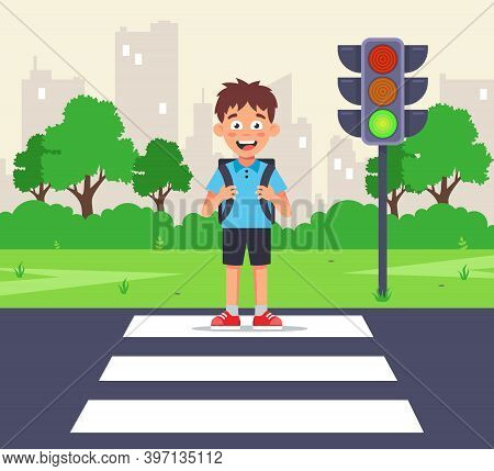 A Little Schoolboy Crosses The Road To A Green Light On A Zebra Crossing. Flat Vector Character Illu