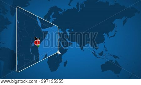 Location Of Kenya On The World Map With Enlarged Map Of Kenya With Flag. Geographical Vector Templat