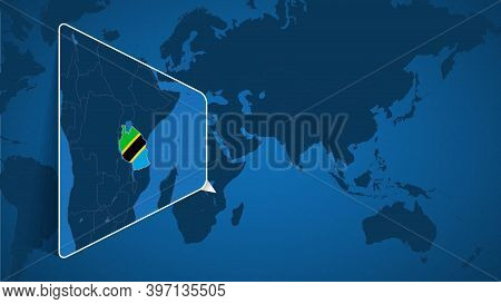 Location Of Tanzania On The World Map With Enlarged Map Of Tanzania With Flag. Geographical Vector T