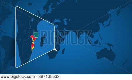 Location Of Mozambique On The World Map With Enlarged Map Of Mozambique With Flag. Geographical Vect