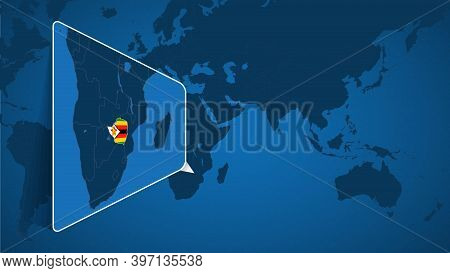 Location Of Zimbabwe On The World Map With Enlarged Map Of Zimbabwe With Flag. Geographical Vector T