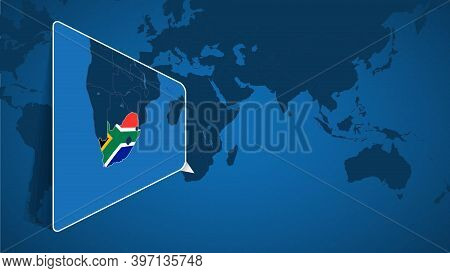 Location Of South Africa On The World Map With Enlarged Map Of South Africa With Flag. Geographical