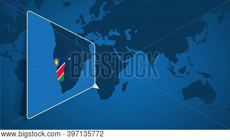 Location Of Namibia On The World Map With Enlarged Map Of Namibia With Flag. Geographical Vector Tem