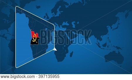 Location Of Angola On The World Map With Enlarged Map Of Angola With Flag. Geographical Vector Templ