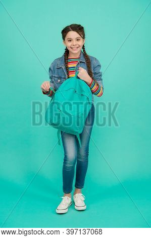 Be A Traveler. Happy Child Carry Travel Bag Blue Background. Vacation Travel. School Holidays. Trave
