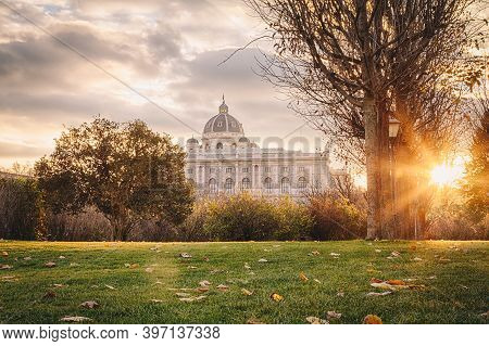 Vienna, Austria. Famous Historical Museum And Landmark In The City Center During Autumn.