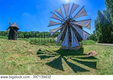 Sibiu, Romania - July 9,2020: Old Historic Windmills Specific For Village Bestepe, Tulcea Country. L