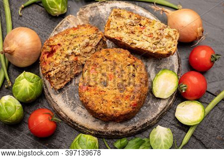 Fresh Veggie Burgers Made From Vegetables, Beans And Legumes, Tasty Vegan Food