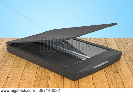 Black Flatbed Scanner, 3d Rendering Isolated On The Wooden Planks, 3d Rendering