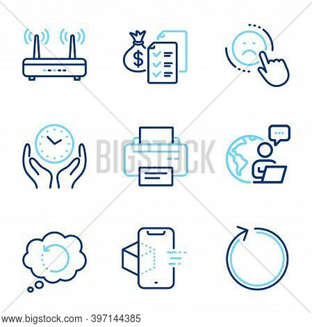 Technology Icons Set. Included Icon As Augmented Reality, Safe Time, Wifi Signs. Loop, Printer, Reco