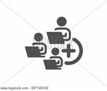 Add Team Icon. Teamwork Sign. Remote Team Employees Symbol. Quality Design Element. Flat Style Add T
