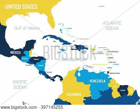 Central America Map - Brown Orange Hue Colored On Dark Background. High Detailed Political Map Centr