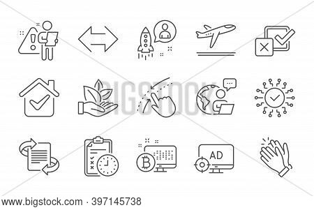 Sync, Marketing And Swipe Up Line Icons Set. Checkbox, Security Network And Departure Plane Signs. B