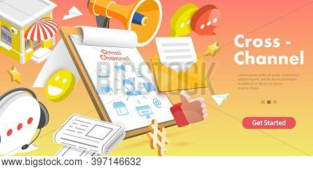 3d Isometric Flat Vector Concept Of Cross-channel