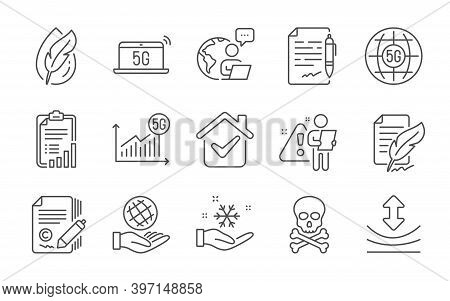 Resilience, Agreement Document And Safe Planet Line Icons Set. Hypoallergenic Tested, Feather Signat