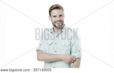 Genuine Smile Of A Cheerful Guy. Happy Guy Isolated On White. Bearded Guy Smiling In Casual Summer S