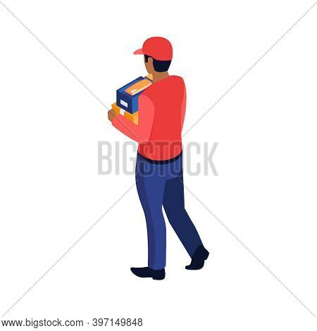 Isometric Post Composition With Character Of Postman Holding Parcel Box Vector Illustration