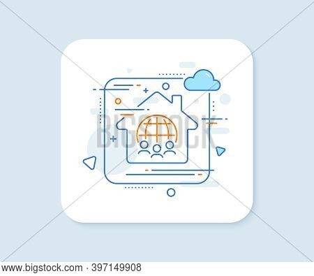 Global Business Line Icon. Abstract Vector Button. International Outsourcing Group Sign. Internet Ma