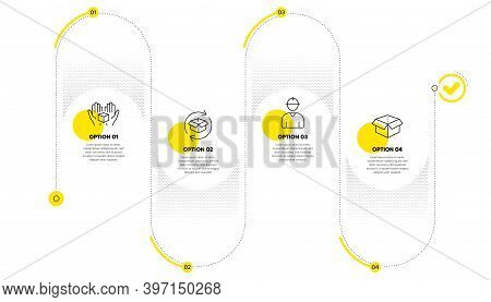 Return Parcel, Engineer And Hold Box Line Icons Set. Timeline Process Infograph. Open Box Sign. Exch