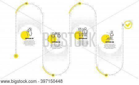 Brand Ambassador, Social Distancing And Repairman Line Icons Set. Timeline Process Infograph. Stats