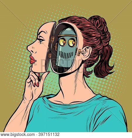 An Android Woman Pretends To Be A Human, But Inside She Is A Robot. Pop Art Retro Illustration Kitsc