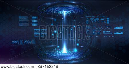 Futuristic Circle 3d Lab - Stage With Hud Elements For Ui, Gui, App Background. Blank Podium For Sho