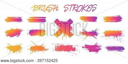 Set Colorful Gradient Brush Strokes. Instagram And Social Networks Mockups. Vector Collection Isolat