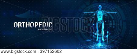 3d Body Hologram, Science And Healthcare Banner. Modern Human Research, Latest Scanning Technology W