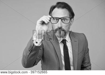 Serious Businessman. Education For Adults. Self Education. Teacher Lecturer Speaker. Intelligent Con