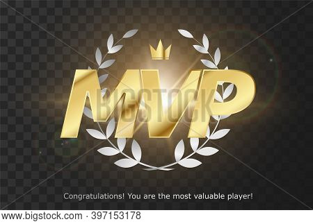 Gold Inscription Mvp - Emblem Reward Most Valuable Player For Gui. Pc, Consoles Or Mobile Gaming. Is