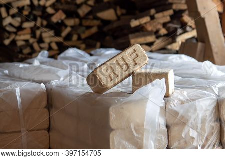 Alternative Fuel, Eco Fuel, Bio Fuel. Wood Sawdust Briquettes For Stoves. Lean-burn With Good Heat O