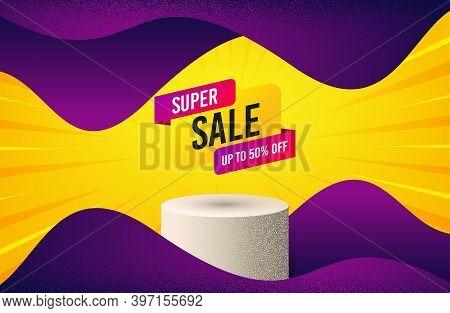 Super Sale Banner. Background With Podium Platform. Discount Sticker Shape. Coupon Bubble Icon. Dott