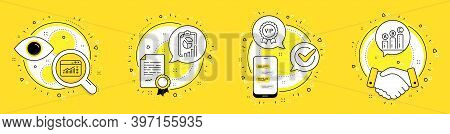 Vip Award, Web Traffic And Report Line Icons Set. Licence, Cell Phone And Deal Vector Icons. Graph C