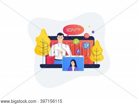 Chemistry Lab, Book And Checkbox Icons Simple Set. Remote Work Banner. Home Education Class. Repairm