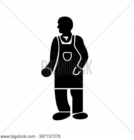 Wear Protective Clothing Black Icon,vector Illustration, Isolated On White Background Label. Eps10