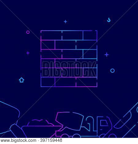 Brickwork Gradient Line Vector Icon, Simple Illustration On A Dark Blue Background, Construction, De